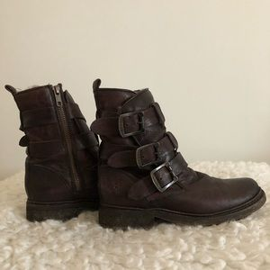 Frye Valerie strapping shearling boot.